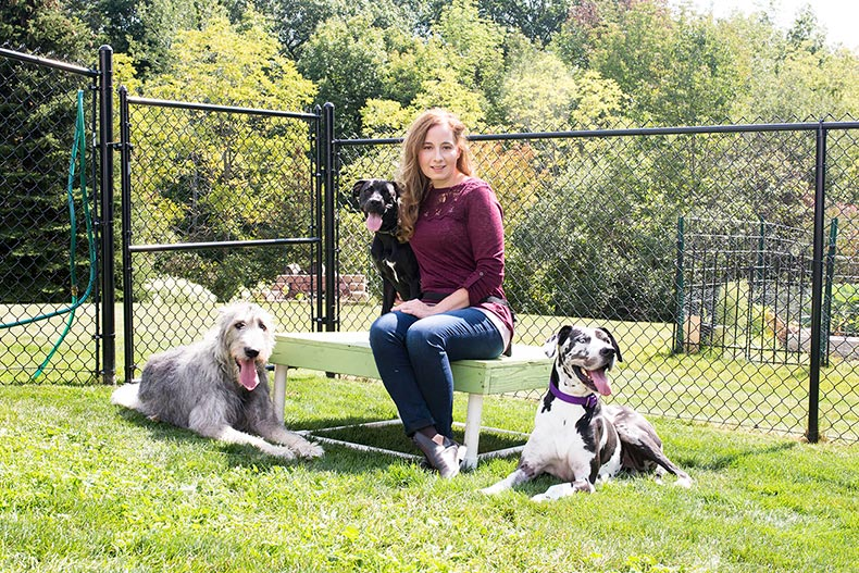 Michele with her three dogs